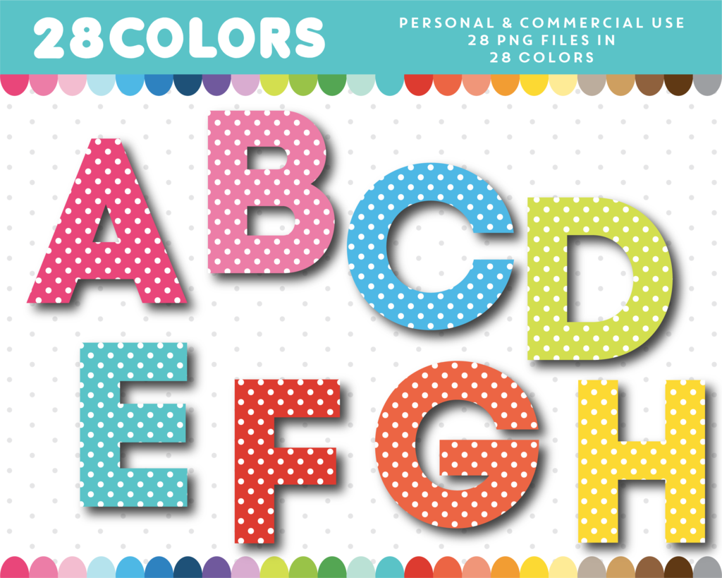 Alphabet clipart. Polka dot with numbers