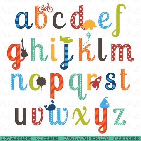 Pinkpueblo boy vectors lowercase. Alphabet clipart