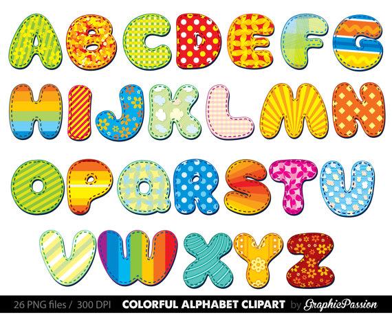 Color digital letters clip. Alphabet clipart