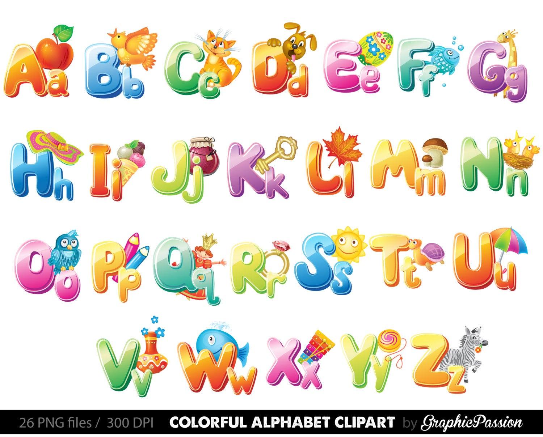 Alphabet clipart. Illustrated color digital letters