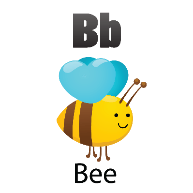 Animal alphabet for the. B clipart bee