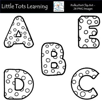 Alphabet clipart black and white. Polka dot clip art