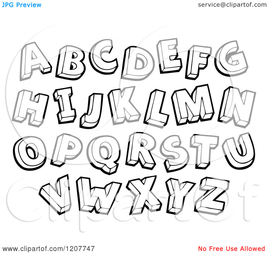 Letters . Alphabet clipart black and white