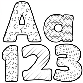 Alphabet clipart black and white. Letters for coloring clip
