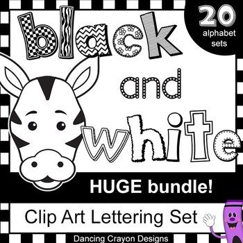 Alphabet clipart black and white. Letters clip art huge