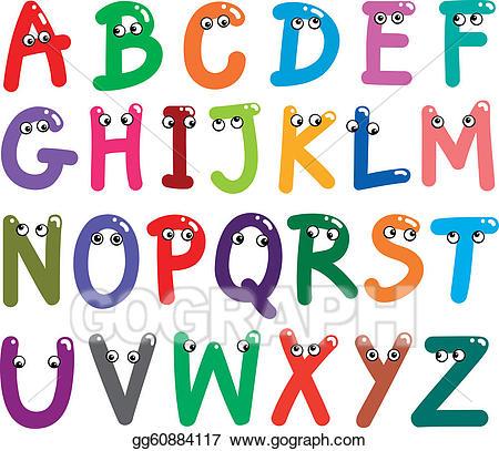 Letters clipart capital. Eps illustration funny alphabet