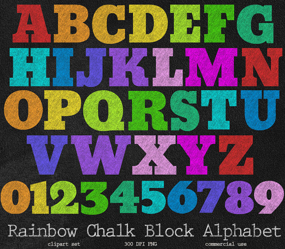 Chalk clipart rainbow. Block letters chalkboard alphabet