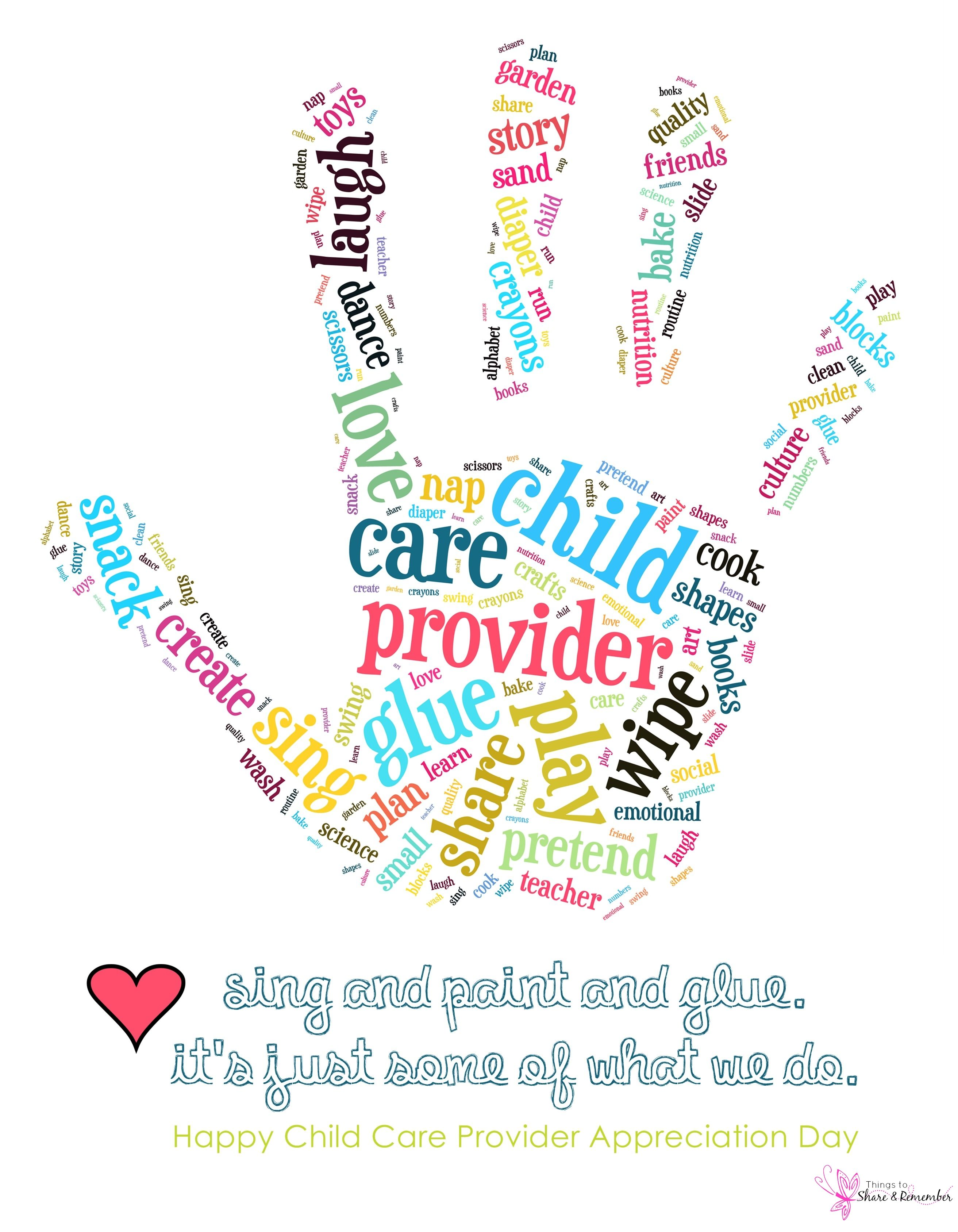 Babysitting clipart child care worker. Provider appreciation day printable