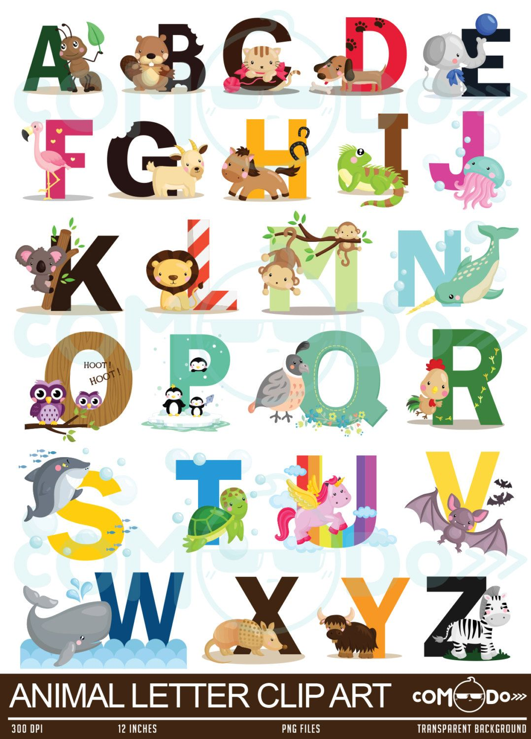Letters clipart. Animal letter cute fun