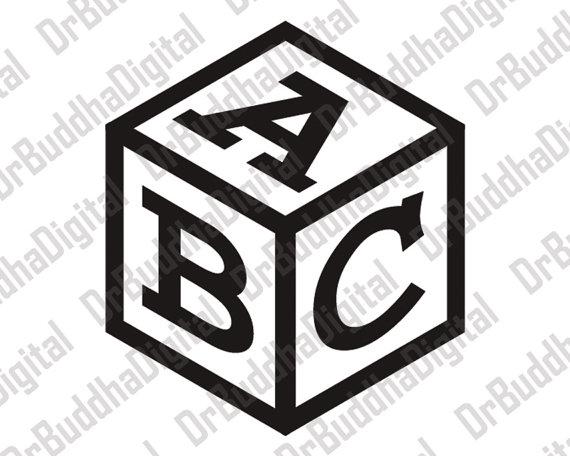 Block clipart cube. Monogram font svg collection