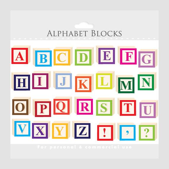 Letters . Block clipart alphabet