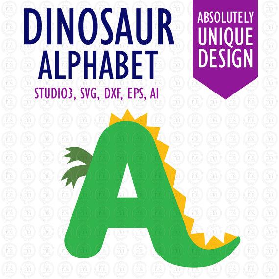 Letters digital cutting files. Alphabet clipart dinosaur