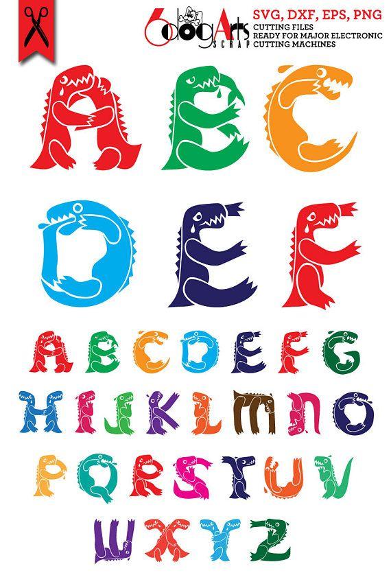 Letters svg dxf diy. Alphabet clipart dinosaur
