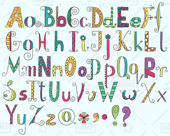 Alphabet clipart doodle. Vector pack hand drawn