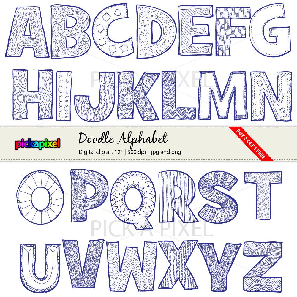 A z letters digital. Alphabet clipart doodle