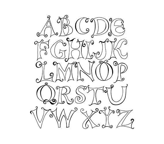 Alphabet clipart doodle. Capital letter digital png