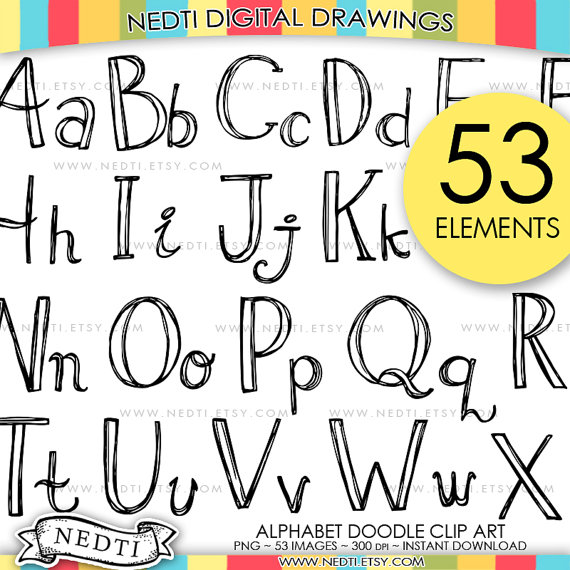 Alphabet clipart doodle. Hand drawn uppercase and