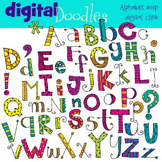 Soup digital clip art. Alphabet clipart doodle