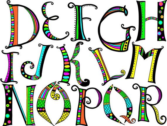 Alphabet clipart doodle.  best classroom corner