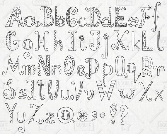 Vector pack hand drawn. Alphabet clipart doodle