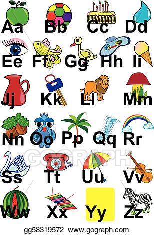 Alphabet clipart english alphabet. Vector art drawing gg