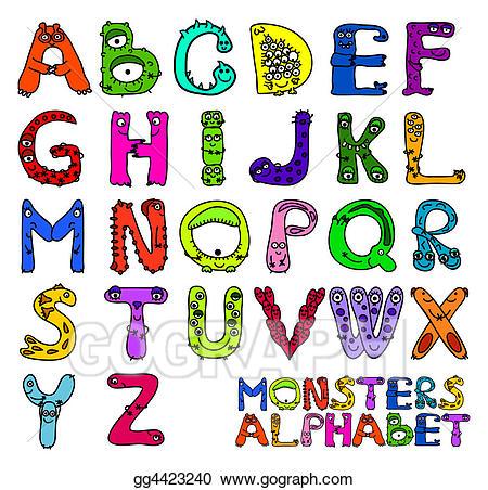Clip art monsters stock. Alphabet clipart english alphabet