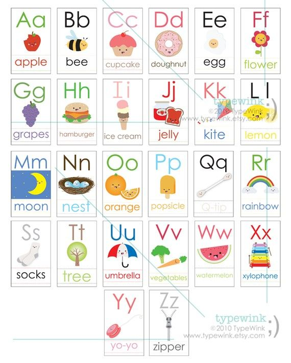 Alphabet clipart flashcard. Cute kawaii abc flash