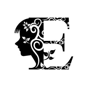 Flower black with white. E clipart design alphabet