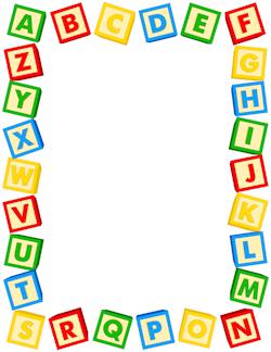 Blocks border pinterest. Alphabet clipart frame