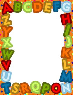 Free school borders clip. Alphabet clipart frame