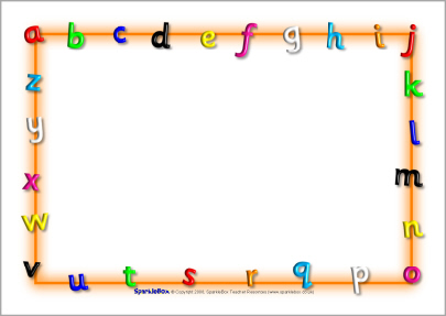 Letters clipart border. Alphabet a page borders