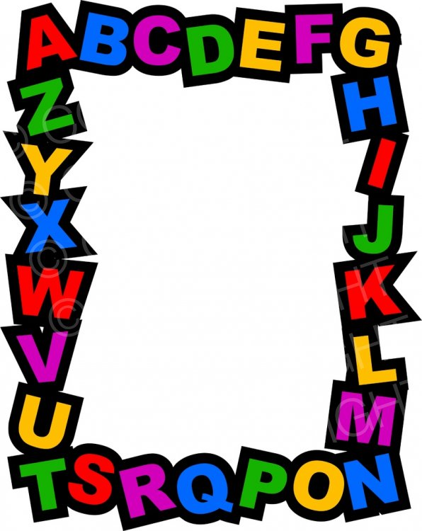 Kids page border prawny. Alphabet clipart frame