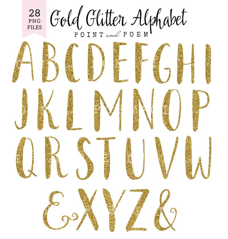 Alphabet clipart gold glitter, Alphabet gold glitter