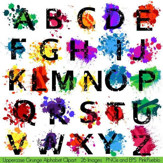 Alphabet clipart graffiti. Grunge font with paint