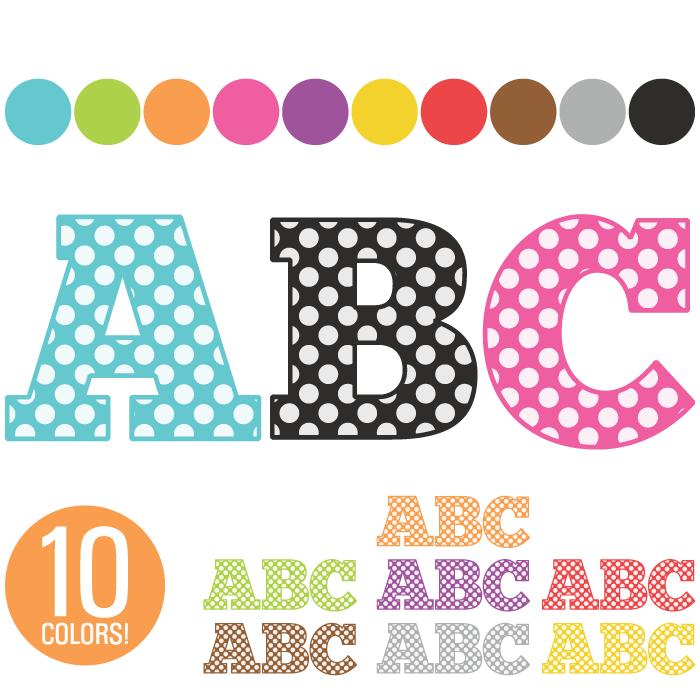 Alphabet clipart lettering. Clip art polka dot
