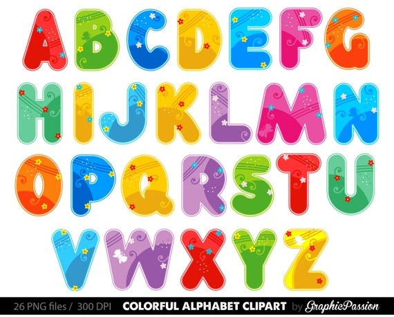 Alphabet clipart lettering. Color digital letters
