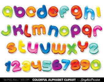 Alphabet clipart lettering. Colorful color digital colourful