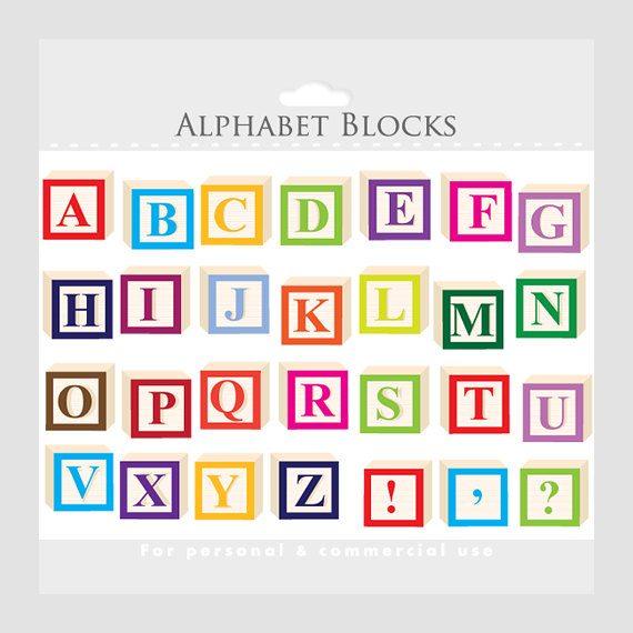 Block letters clip art. Alphabet clipart lettering