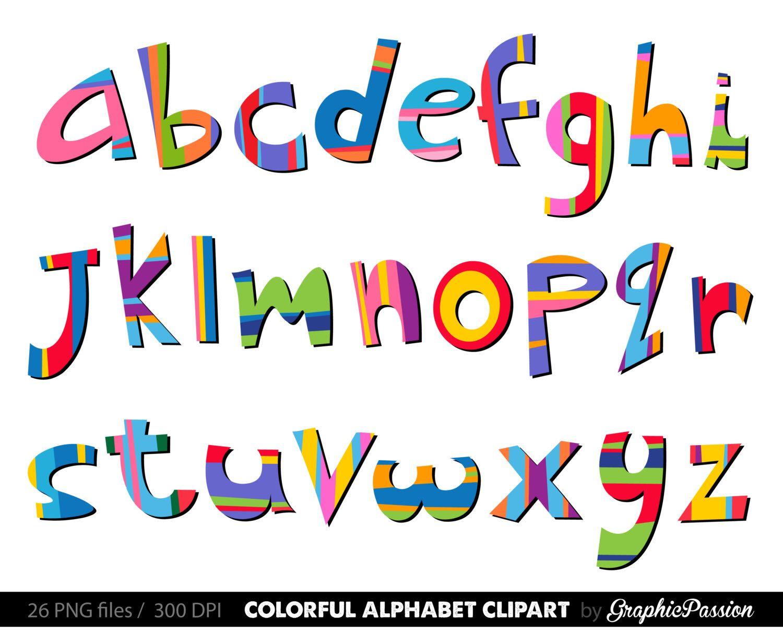 Scrapbooking color digital letters. Alphabet clipart lettering