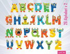 Alphabet clipart monster. Custom designed for psychobaby