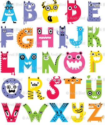 Alphabet clipart monster. Pattern fabric andibird spoonflower