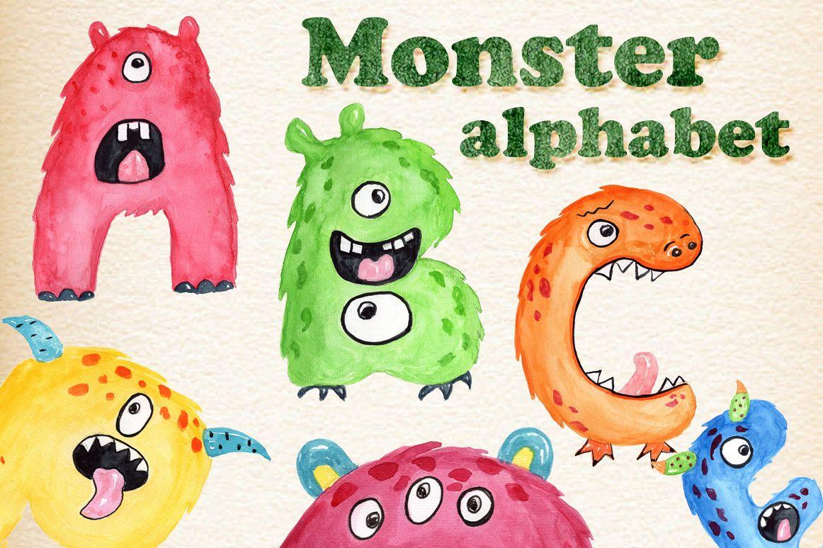 Kids by vivast design. Alphabet clipart monster