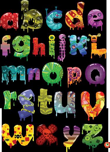 Children s sticker tenstickers. Alphabet clipart monster