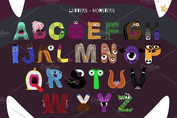 Monsters vector illustrations creative. Alphabet clipart monster