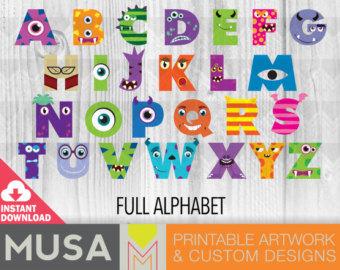 Alphabet clipart monster. Monsters inc letters etsy
