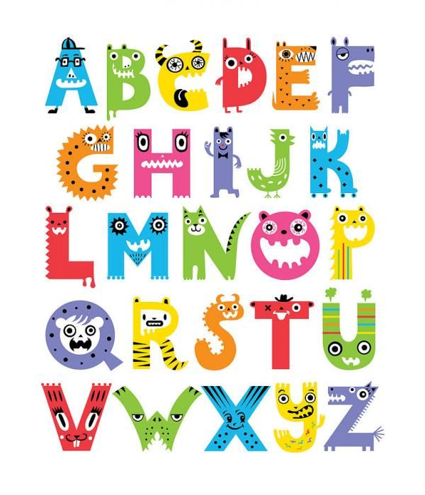 Typography by andi bird. Alphabet clipart monster