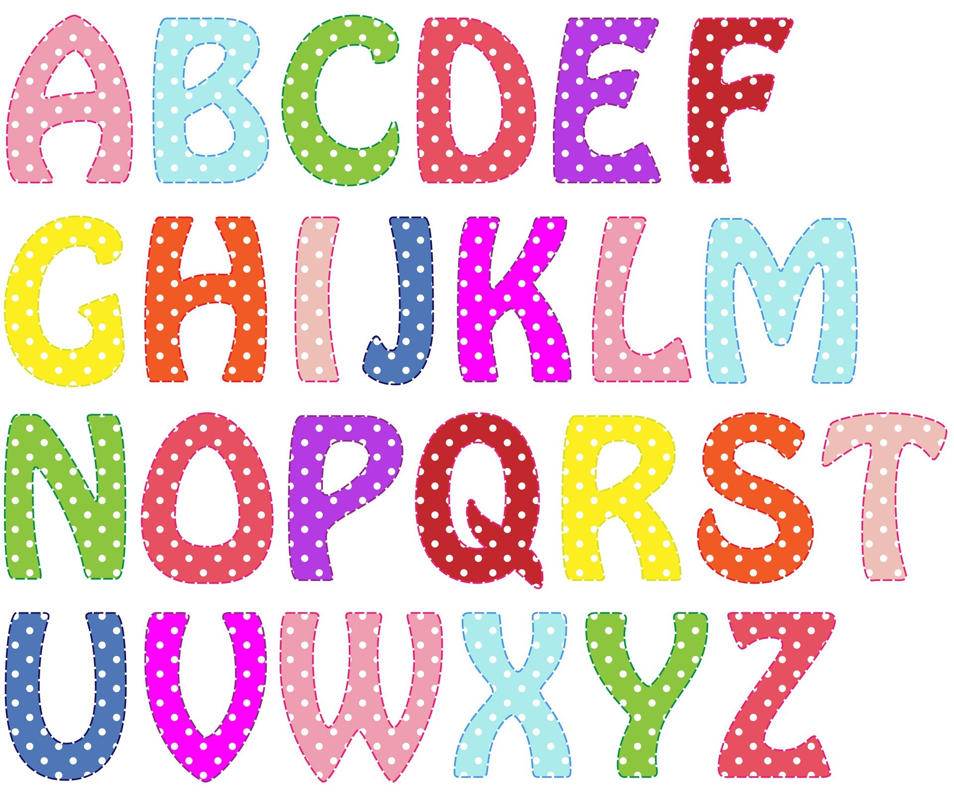 Alphabet clipart printable. Colorful letters collection of