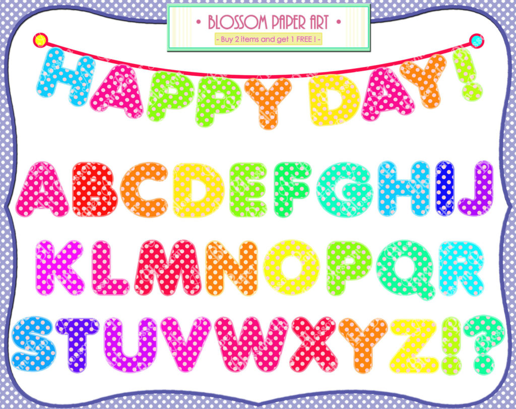 Miracle coloured letters individual. Alphabet clipart printable