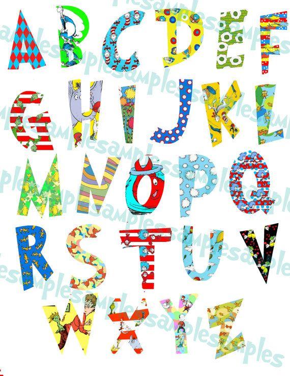 Dr seuss font letters. Alphabet clipart printable