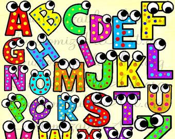 Alphabet clipart uppercase letter. Etsy digital clip art